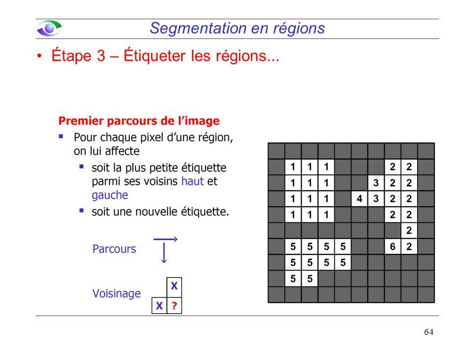64 Segmentation en régions Étape 3 – Étiqueter les régions...