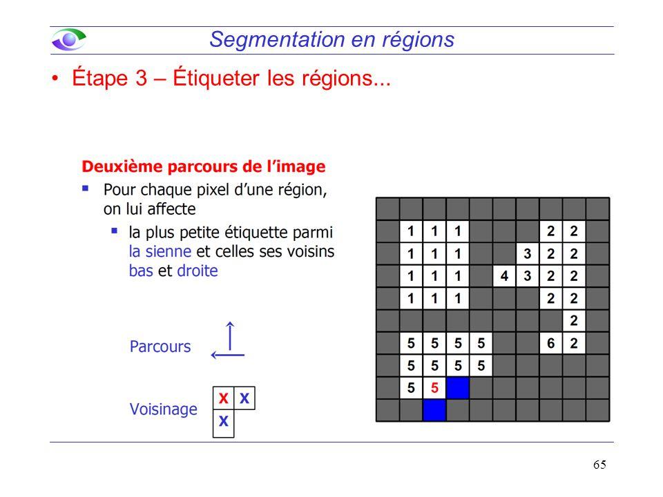 65 Segmentation en régions Étape 3 – Étiqueter les régions...