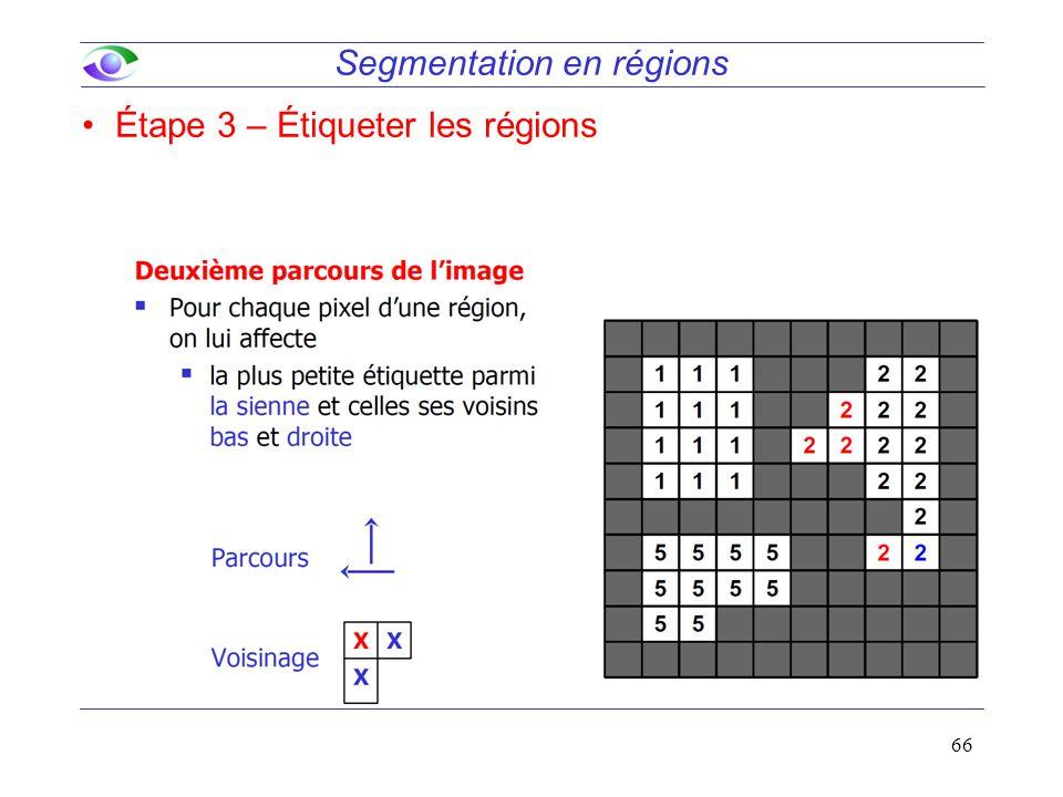 66 Segmentation en régions Étape 3 – Étiqueter les régions