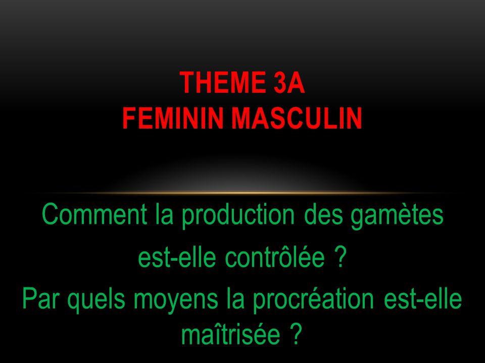 Comment la production des gamètes est-elle contrôlée ? THEME 3A FEMININ MASCULIN Par quels moyens la procréation est-elle maîtrisée ?