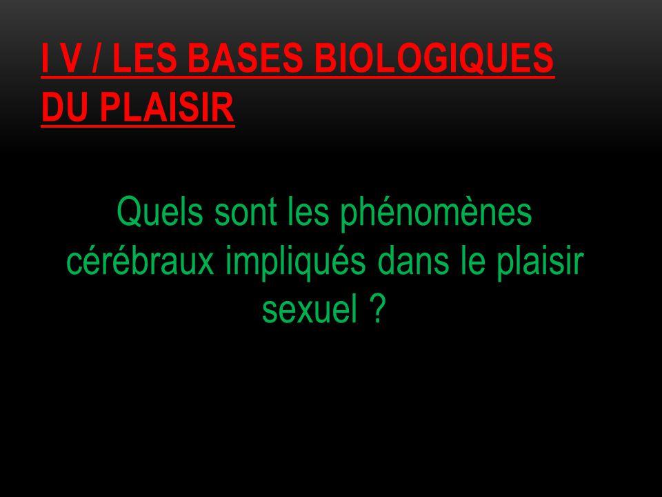I V / LES BASES BIOLOGIQUES DU PLAISIR Quels sont les phénomènes cérébraux impliqués dans le plaisir sexuel ?