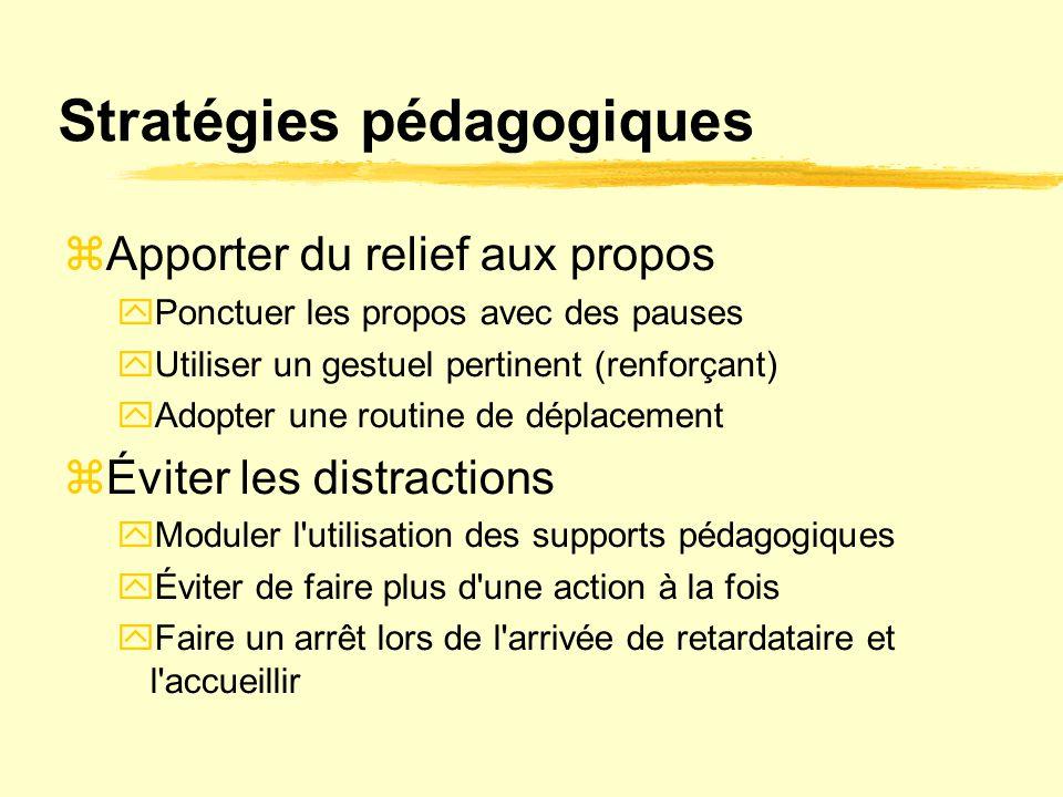 Stratégies pédagogiques  Apporter du relief aux propos  Ponctuer les propos avec des pauses  Utiliser un gestuel pertinent (renforçant)  Adopter u