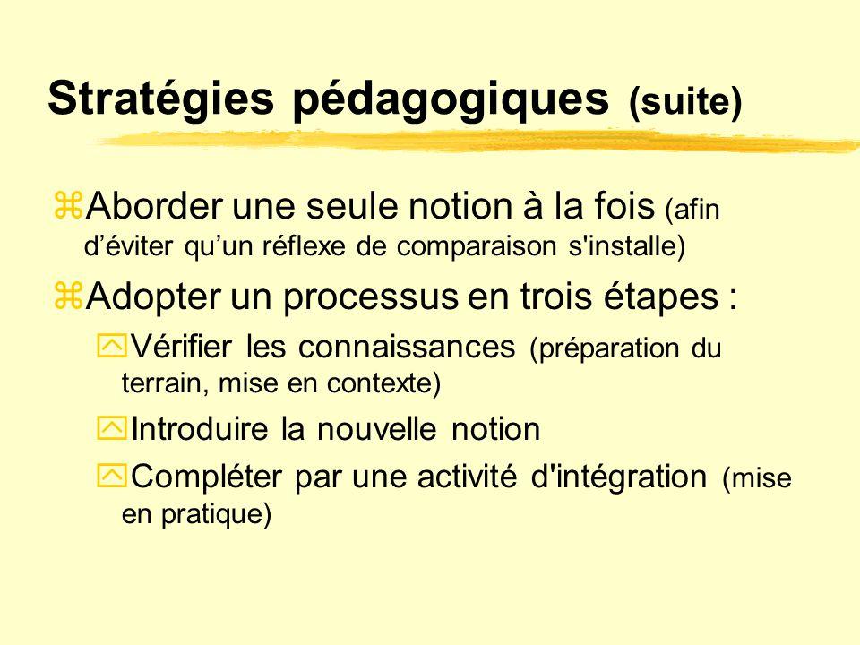 Stratégies pédagogiques (suite)  Aborder une seule notion à la fois (afin d'éviter qu'un réflexe de comparaison s'installe)  Adopter un processus en