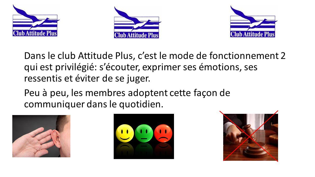 Dans le club Attitude Plus, c'est le mode de fonctionnement 2 qui est privilégié: s'écouter, exprimer ses émotions, ses ressentis et éviter de se juge