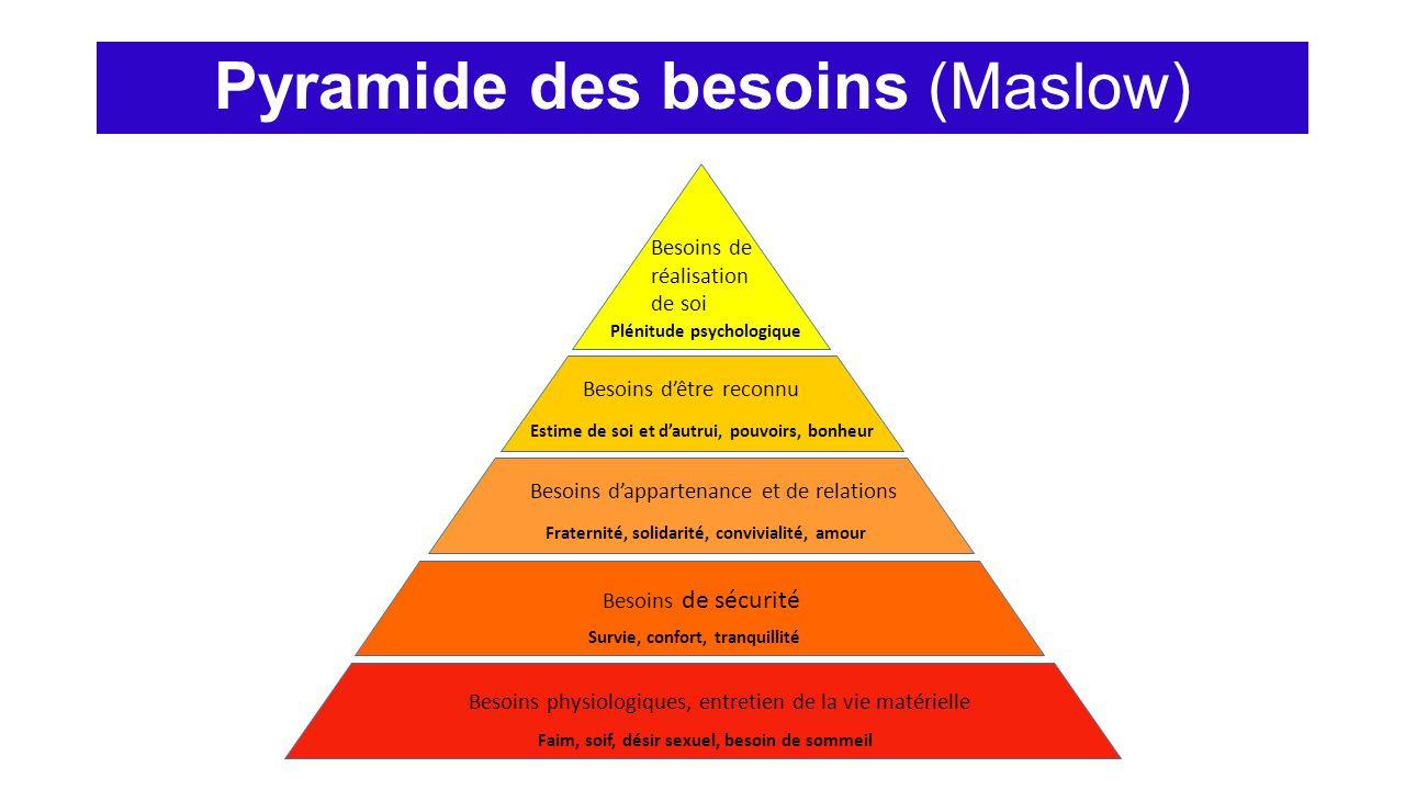 Pyramide des besoins (Maslow) Besoins de réalisation de soi Plénitude psychologique Besoins d'être reconnu Estime de soi et d'autrui, pouvoirs, bonheu