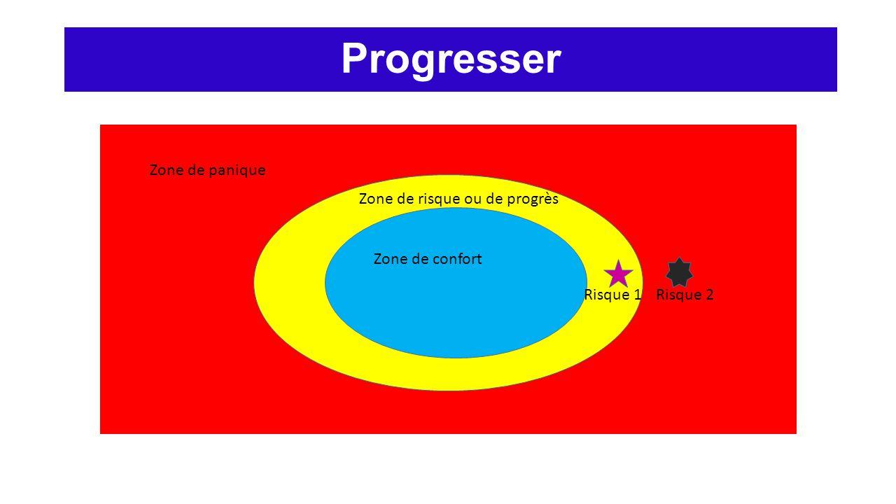 Progresser Zone de panique Zone de risque ou de progrès Zone de confort Risque 1Risque 2