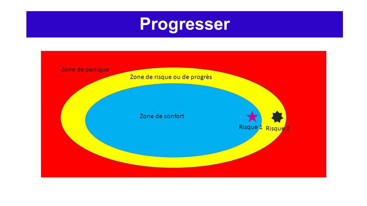 Progresser Zone de panique Zone de risque ou de progrès Zone de confort Risque 1 Risque 2