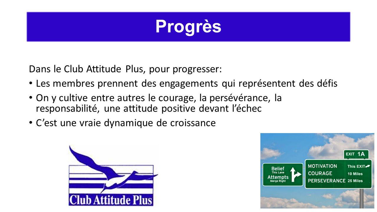 Dans le Club Attitude Plus, pour progresser: Les membres prennent des engagements qui représentent des défis On y cultive entre autres le courage, la