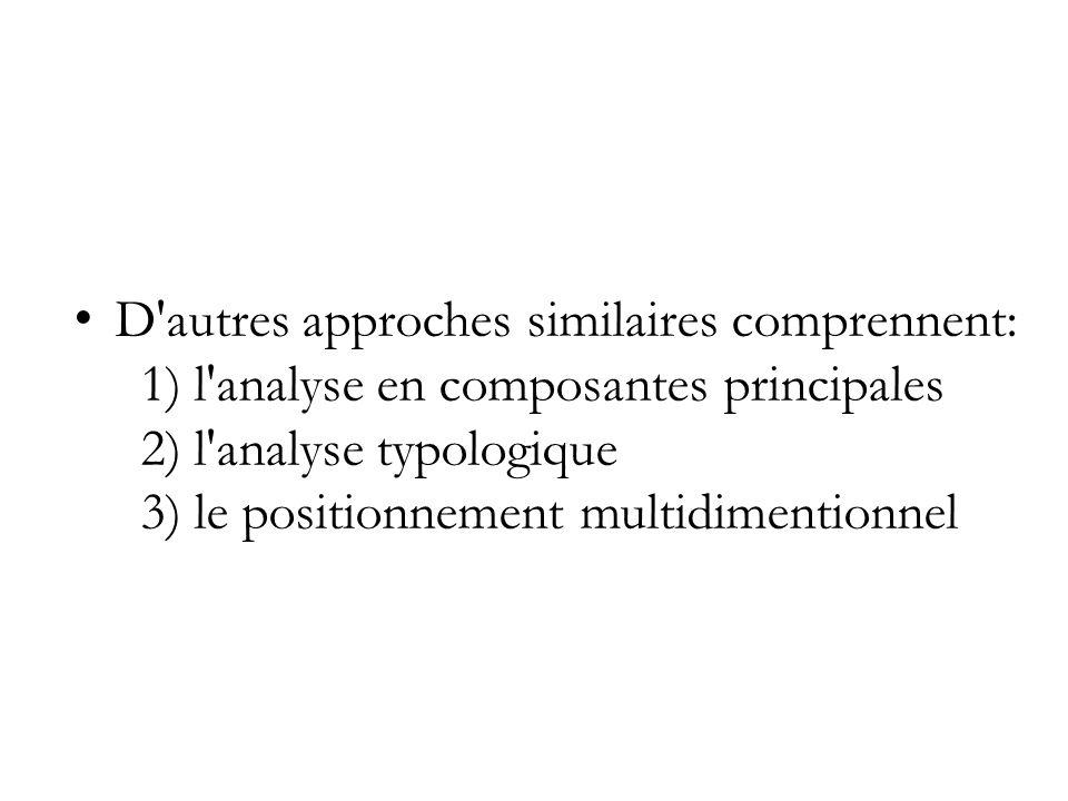 Non seulement l analyse factorielle est une des diverses approches comparables, mais il y a diverses approches de l analyse factorielle.