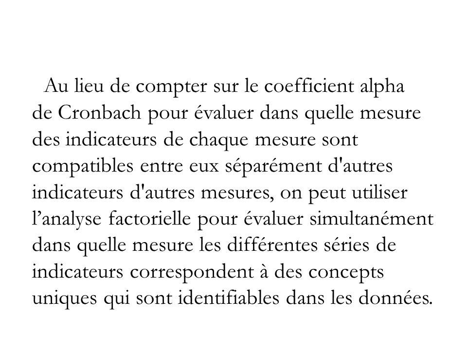 Au lieu de compter sur le coefficient alpha de Cronbach pour évaluer dans quelle mesure des indicateurs de chaque mesure sont compatibles entre eux séparément d autres indicateurs d autres mesures, on peut utiliser l'analyse factorielle pour évaluer simultanément dans quelle mesure les différentes séries de indicateurs correspondent à des concepts uniques qui sont identifiables dans les données.