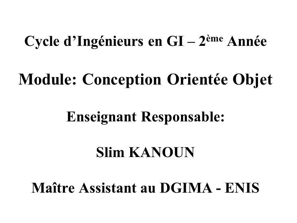 Cycle d'Ingénieurs en GI – 2 ème Année Module: Conception Orientée Objet Enseignant Responsable: Slim KANOUN Maître Assistant au DGIMA - ENIS