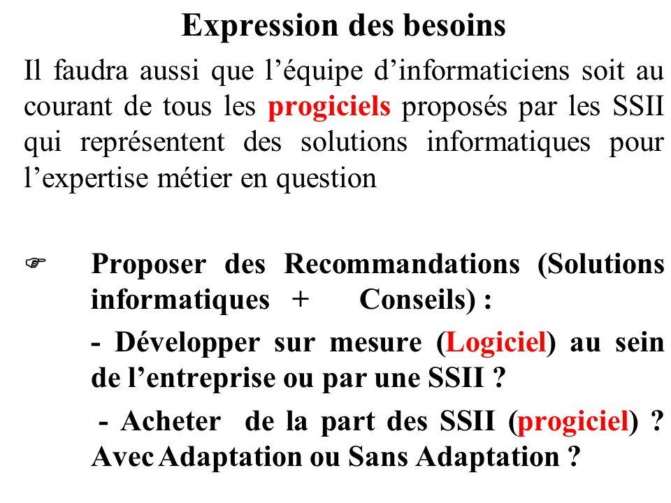 Expression des besoins Il faudra aussi que l'équipe d'informaticiens soit au courant de tous les progiciels proposés par les SSII qui représentent des