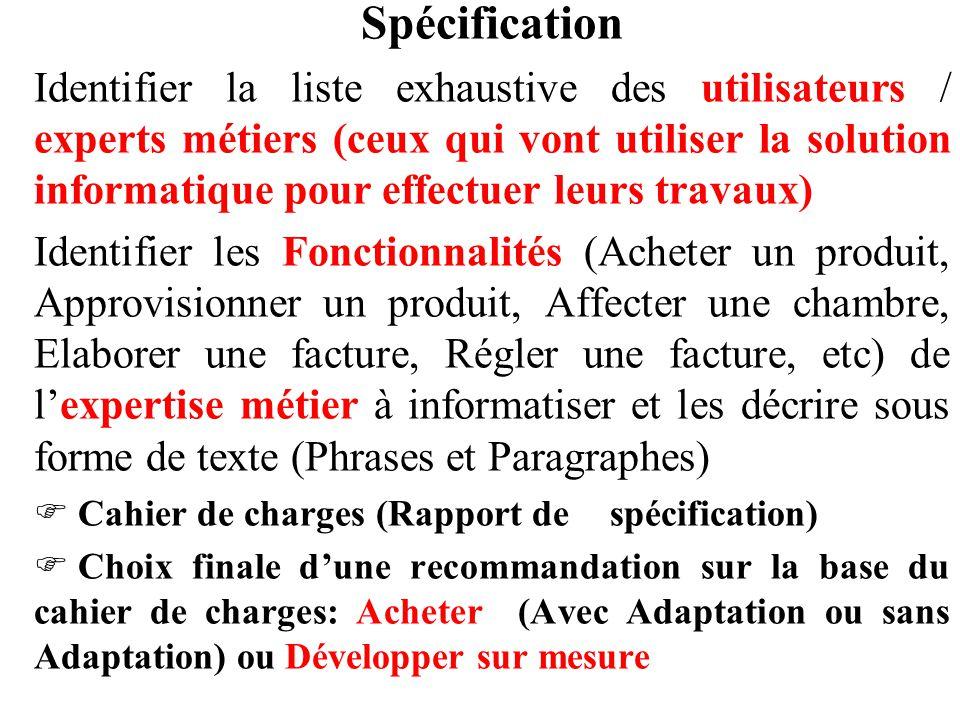 Spécification Identifier la liste exhaustive des utilisateurs / experts métiers (ceux qui vont utiliser la solution informatique pour effectuer leurs