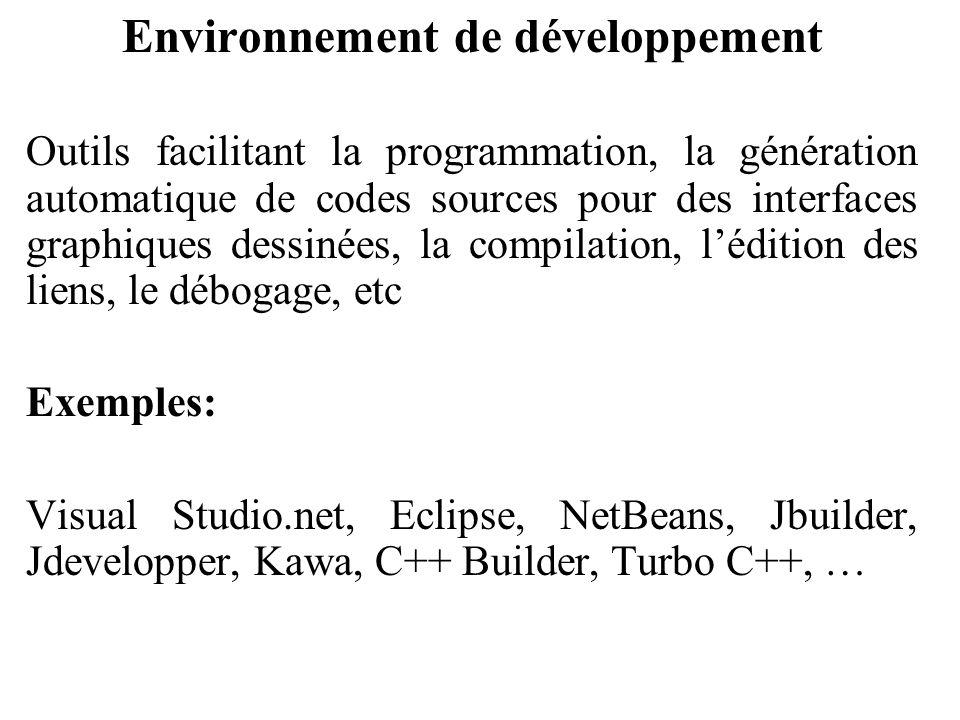 Environnement de développement Outils facilitant la programmation, la génération automatique de codes sources pour des interfaces graphiques dessinées