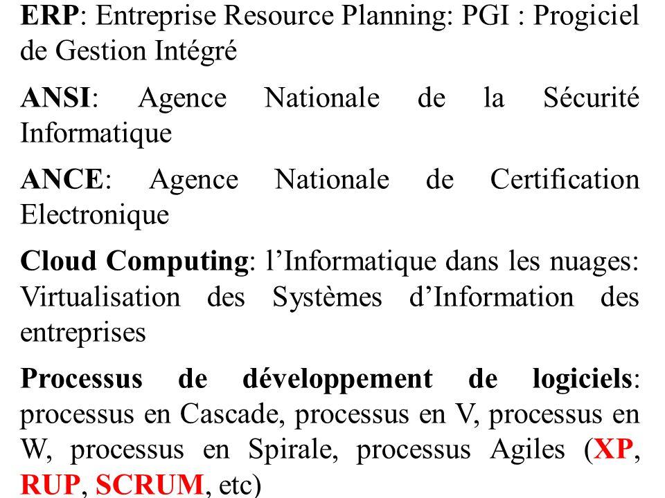 ERP: Entreprise Resource Planning: PGI : Progiciel de Gestion Intégré ANSI: Agence Nationale de la Sécurité Informatique ANCE: Agence Nationale de Cer