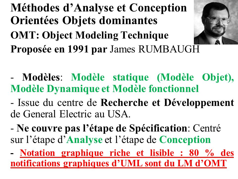 Méthodes d'Analyse et Conception Orientées Objets dominantes OMT: Object Modeling Technique Proposée en 1991 par James RUMBAUGH - Modèles: Modèle stat