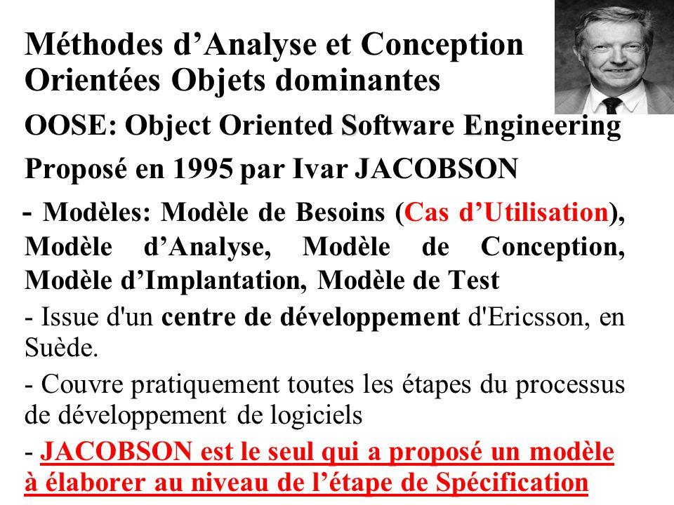 Méthodes d'Analyse et Conception Orientées Objets dominantes SE OOSE: Object Oriented Software Engineering Proposé en 1995 par Ivar JACOBSON - Modèles