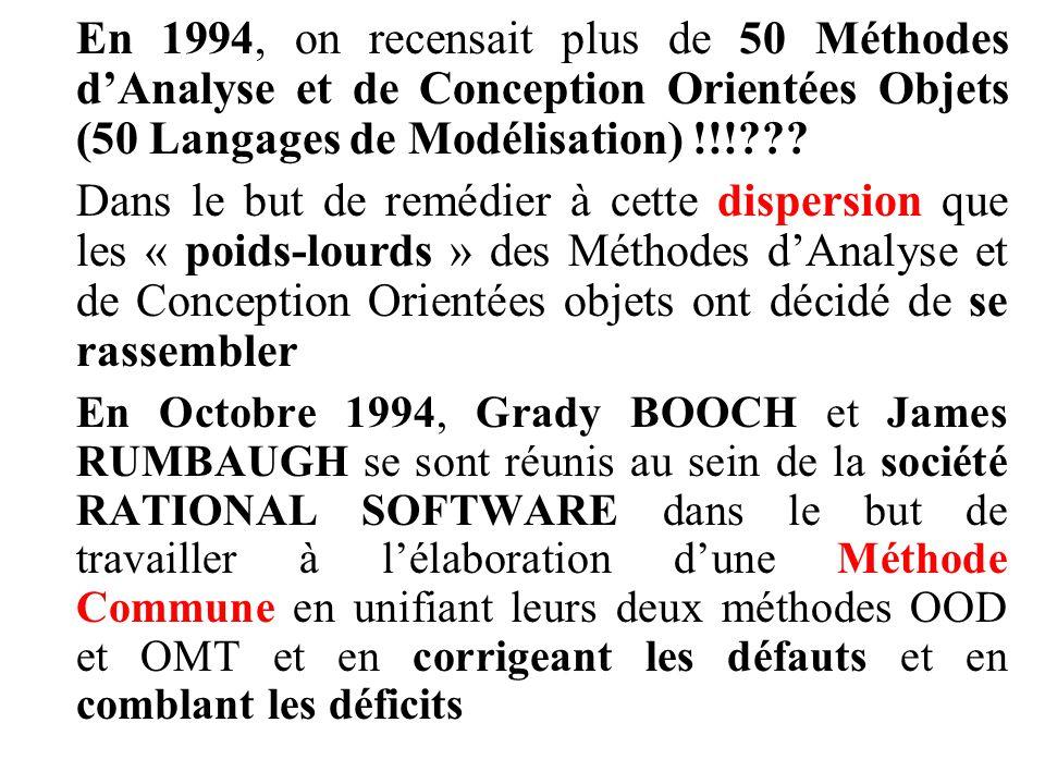 En 1994, on recensait plus de 50 Méthodes d'Analyse et de Conception Orientées Objets (50 Langages de Modélisation) !!!??? Dans le but de remédier à c