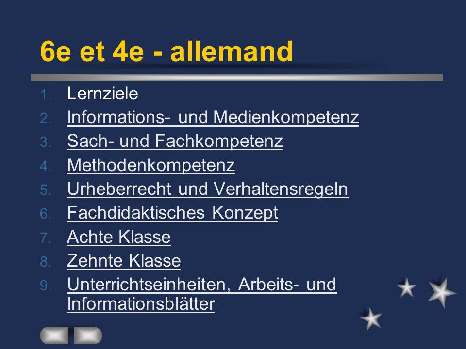 6e et 4e - allemand 1. Lernziele 2. Informations- und Medienkompetenz Informations- und Medienkompetenz 3. Sach- und Fachkompetenz Sach- und Fachkompe