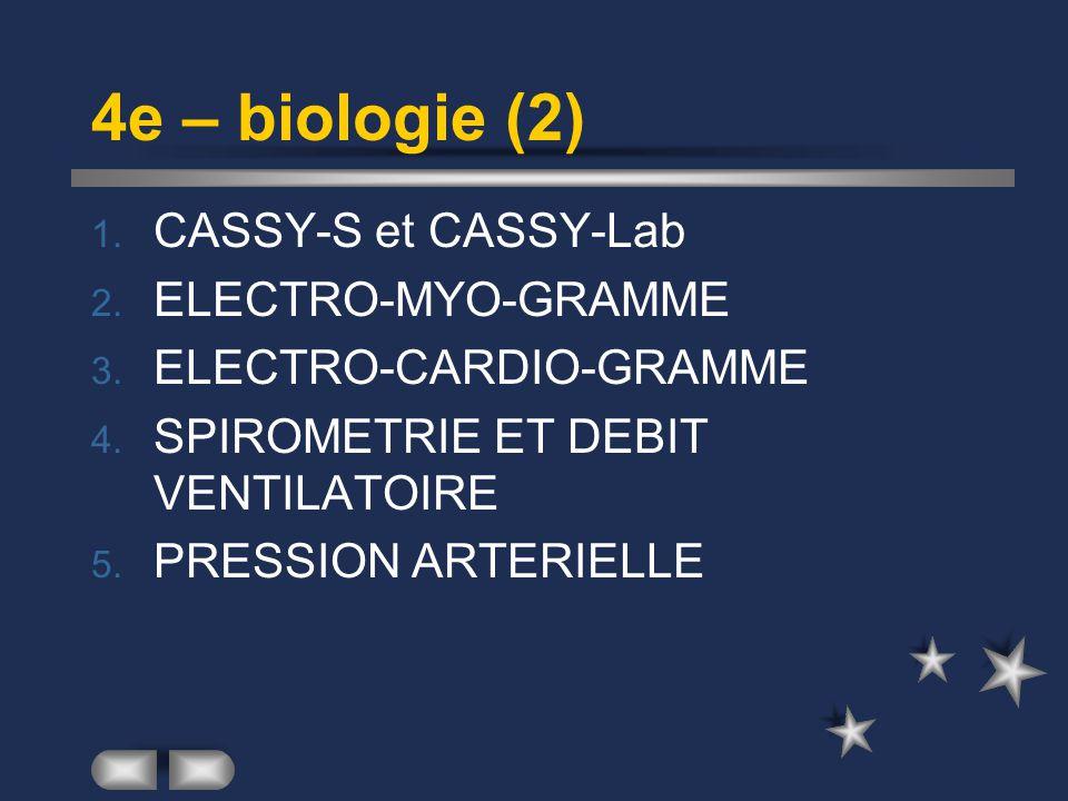 4e – biologie (2) 1.CASSY-S et CASSY-Lab 2. ELECTRO-MYO-GRAMME 3.