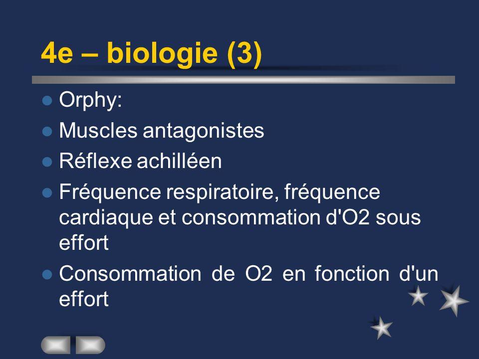 4e – biologie (3) Orphy: Muscles antagonistes Réflexe achilléen Fréquence respiratoire, fréquence cardiaque et consommation d O2 sous effort Consommation de O2 en fonction d un effort