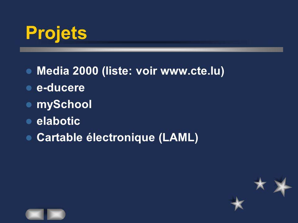 Projets Media 2000 (liste: voir www.cte.lu) e-ducere mySchool elabotic Cartable électronique (LAML)