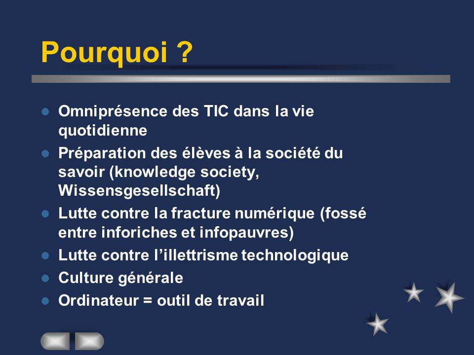 Omniprésence des TIC dans la vie quotidienne Préparation des élèves à la société du savoir (knowledge society, Wissensgesellschaft) Lutte contre la fr
