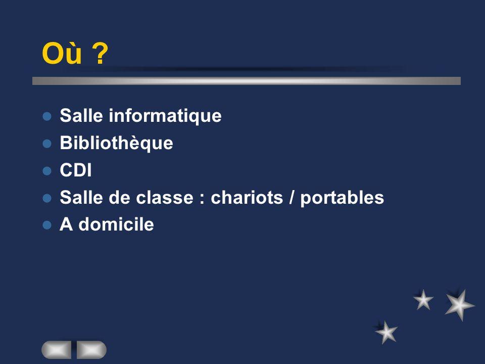 Où ? Salle informatique Bibliothèque CDI Salle de classe : chariots / portables A domicile