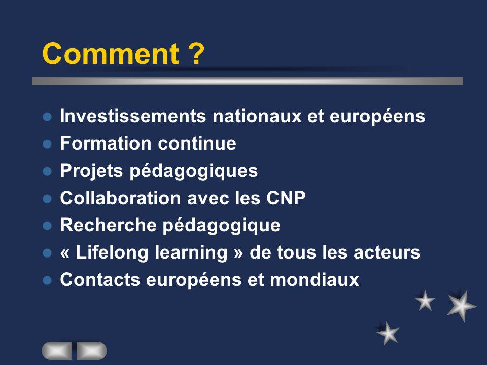 Comment ? Investissements nationaux et européens Formation continue Projets pédagogiques Collaboration avec les CNP Recherche pédagogique « Lifelong l