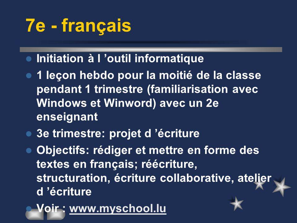 7e - français Initiation à l 'outil informatique 1 leçon hebdo pour la moitié de la classe pendant 1 trimestre (familiarisation avec Windows et Winwor