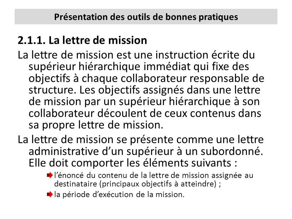 Présentation des outils de bonnes pratiques 2.1.1. La lettre de mission La lettre de mission est une instruction écrite du supérieur hiérarchique immé