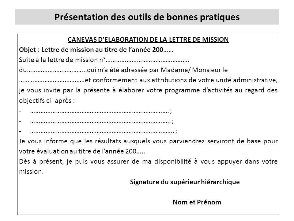 Présentation des outils de bonnes pratiques CANEVAS D'ELABORATION DE LA LETTRE DE MISSION Objet : Lettre de mission au titre de l'année 200…… Suite à la lettre de mission n°………………………………………….