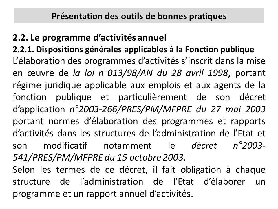 2.2. Le programme d'activités annuel 2.2.1. Dispositions générales applicables à la Fonction publique L'élaboration des programmes d'activités s'inscr