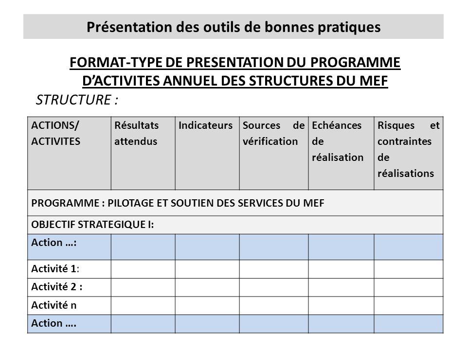 Présentation des outils de bonnes pratiques FORMAT-TYPE DE PRESENTATION DU PROGRAMME D'ACTIVITES ANNUEL DES STRUCTURES DU MEF STRUCTURE : ACTIONS/ ACT