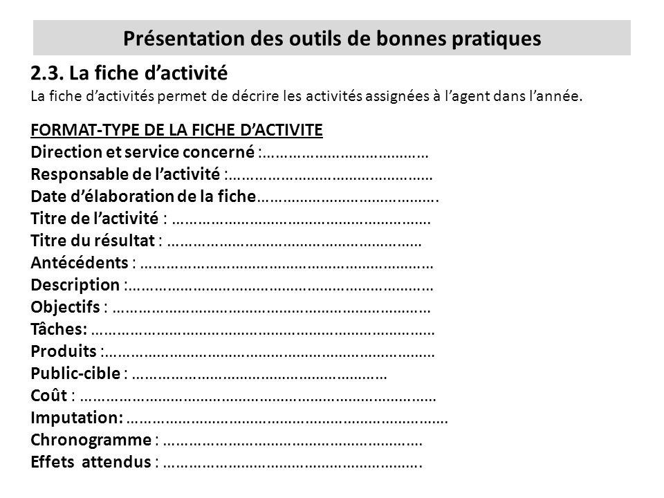 Présentation des outils de bonnes pratiques 2.3. La fiche d'activité La fiche d'activités permet de décrire les activités assignées à l'agent dans l'a