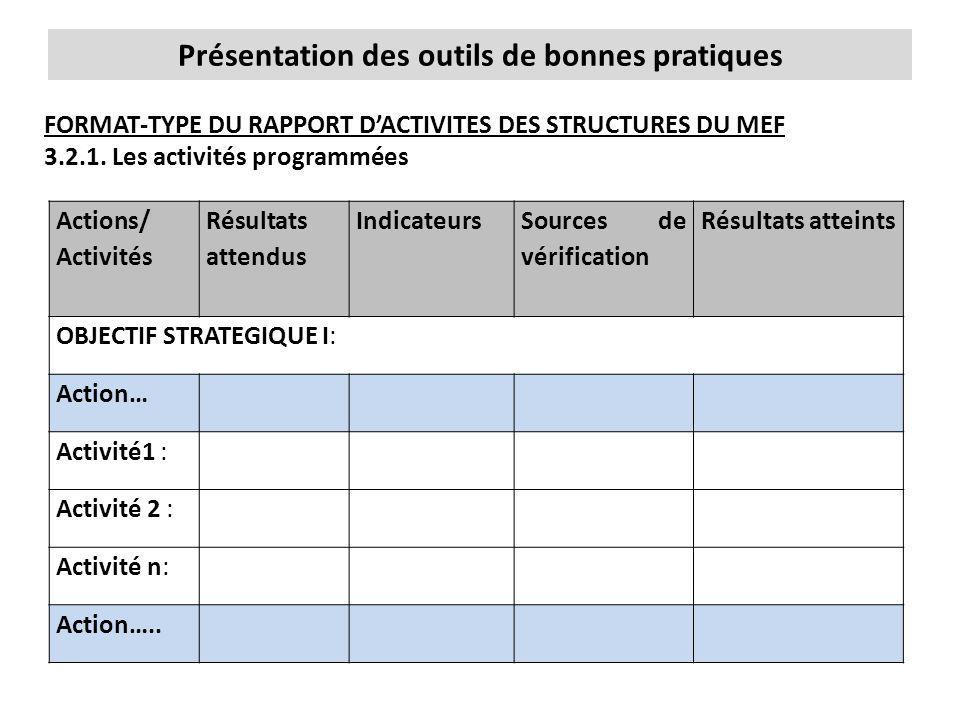 Présentation des outils de bonnes pratiques FORMAT-TYPE DU RAPPORT D'ACTIVITES DES STRUCTURES DU MEF 3.2.1. Les activités programmées Actions/ Activit