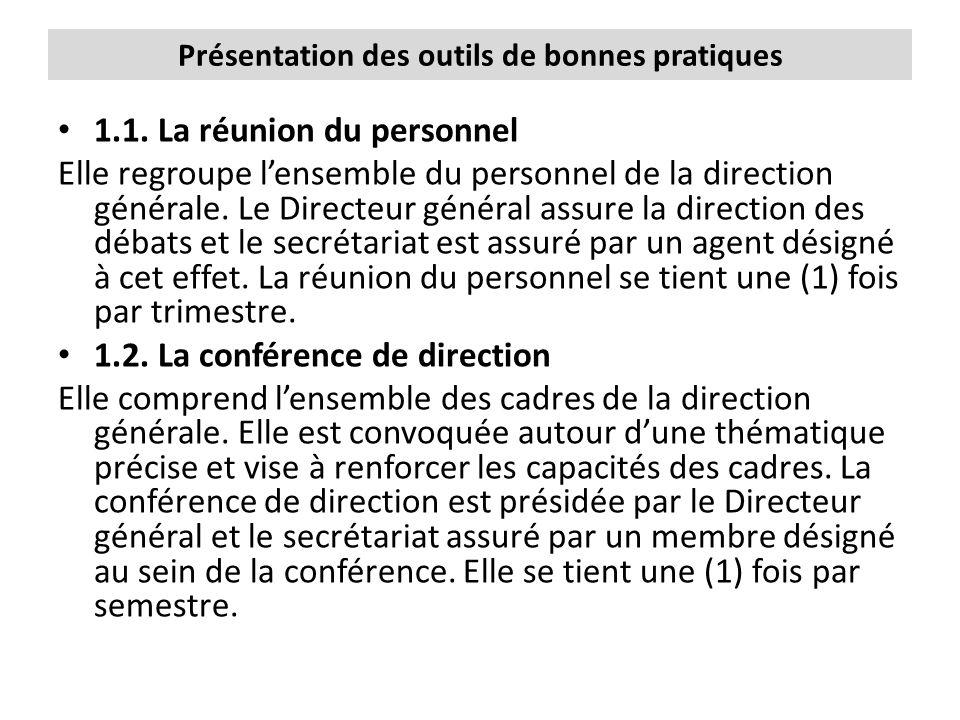 Présentation des outils de bonnes pratiques 1.1. La réunion du personnel Elle regroupe l'ensemble du personnel de la direction générale. Le Directeur