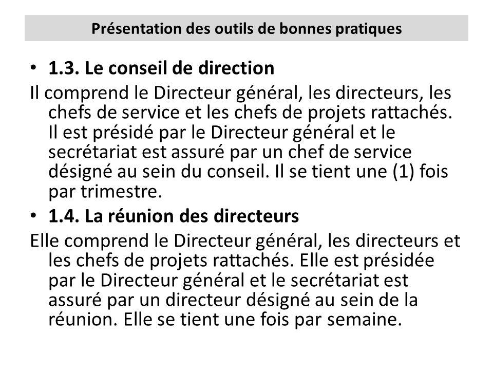 Présentation des outils de bonnes pratiques 1.3. Le conseil de direction Il comprend le Directeur général, les directeurs, les chefs de service et les