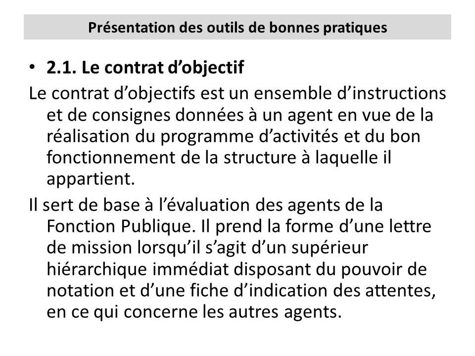 Présentation des outils de bonnes pratiques 2.1. Le contrat d'objectif Le contrat d'objectifs est un ensemble d'instructions et de consignes données à