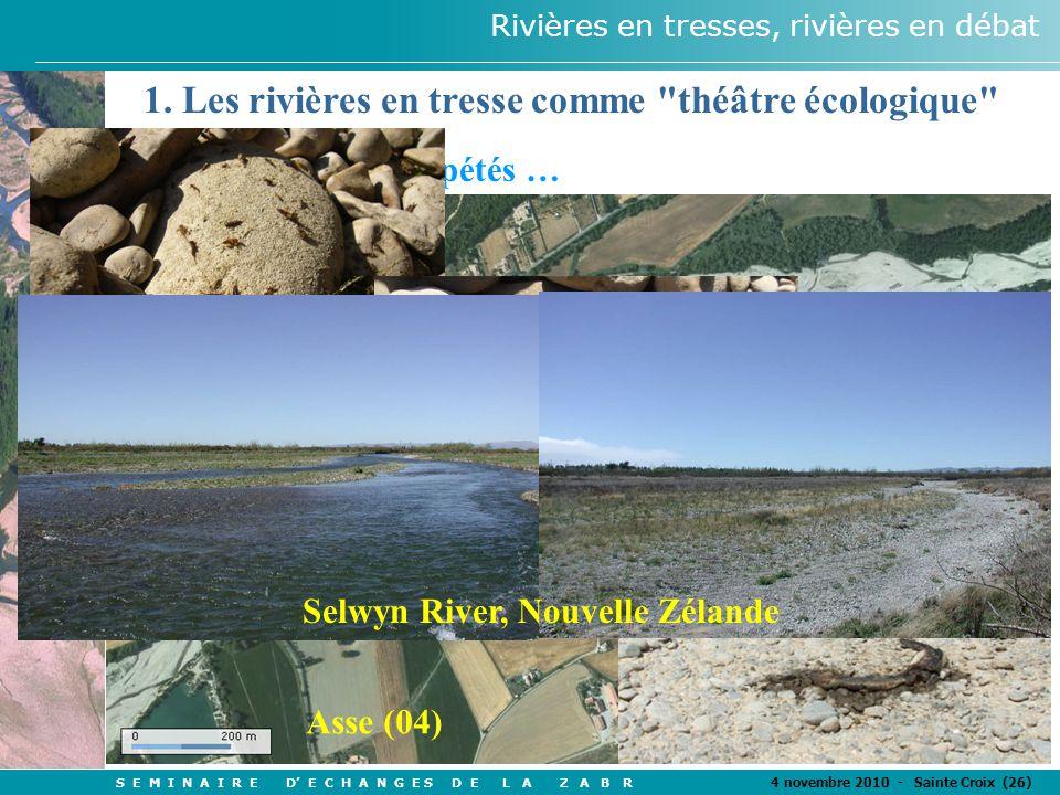 S E M I N A I R E D' E C H A N G E S D E L A Z A B R 4 novembre 2010 - Sainte Croix (26) Rivières en tresses, rivières en débat Des assèchements repétés … Asse (04) 1.