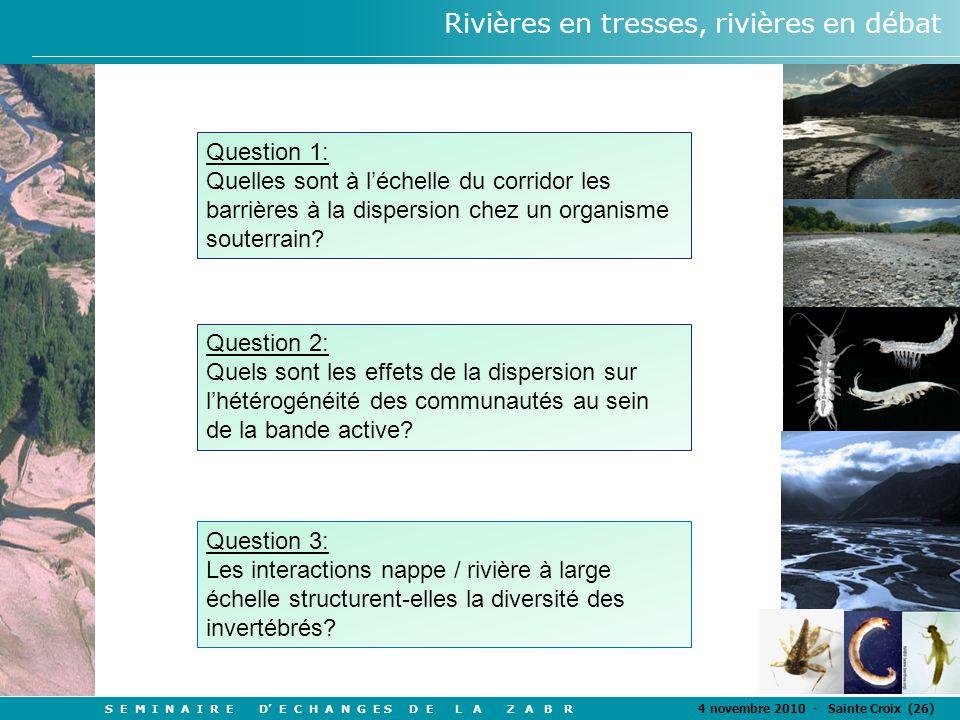 S E M I N A I R E D' E C H A N G E S D E L A Z A B R 4 novembre 2010 - Sainte Croix (26) Rivières en tresses, rivières en débat Question 1: Quelles sont à l'échelle du corridor les barrières à la dispersion chez un organisme souterrain.