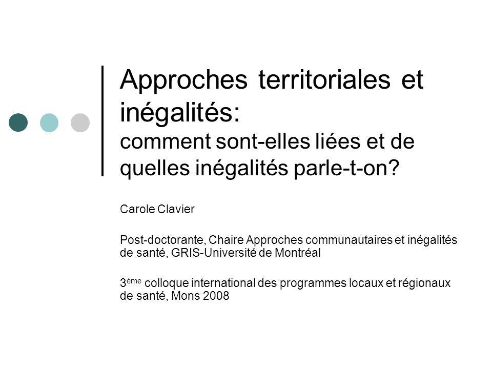Approches territoriales et inégalités: comment sont-elles liées et de quelles inégalités parle-t-on.