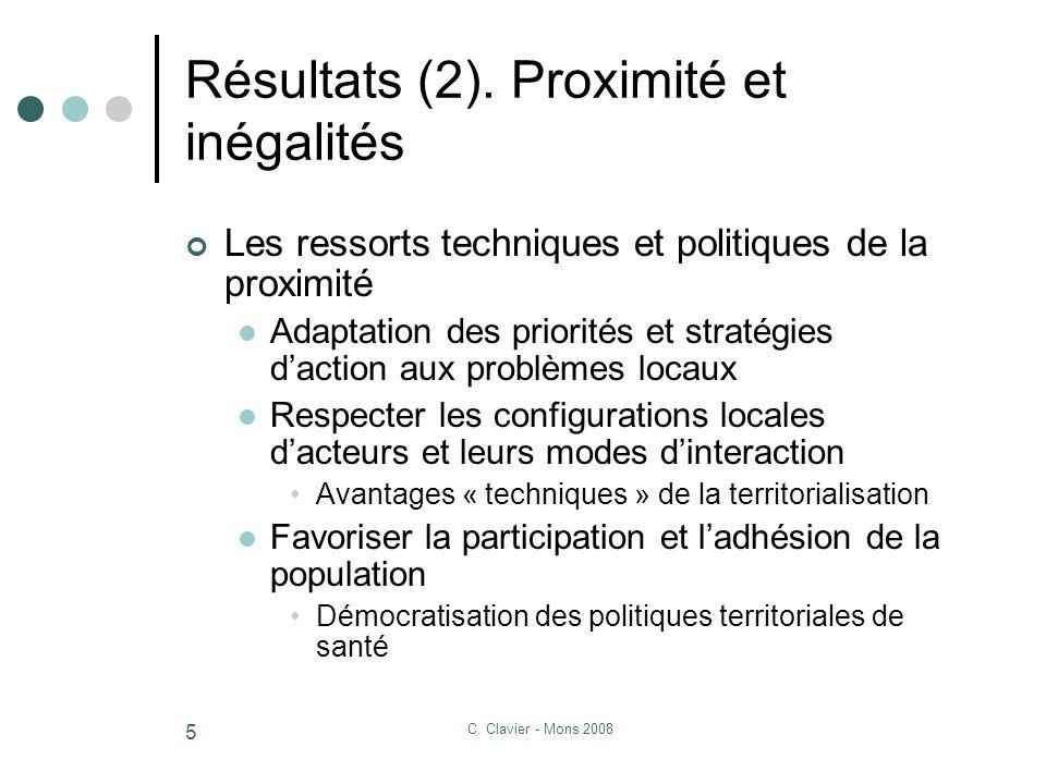 C. Clavier - Mons 2008 5 Résultats (2).