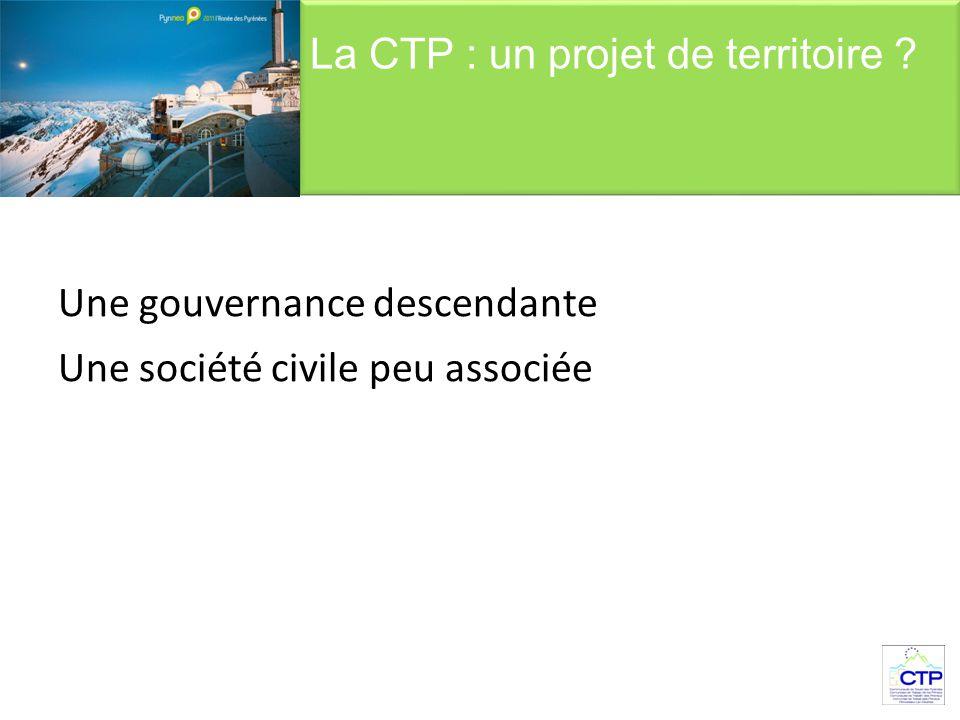 Une gouvernance descendante Une société civile peu associée La CTP : un projet de territoire