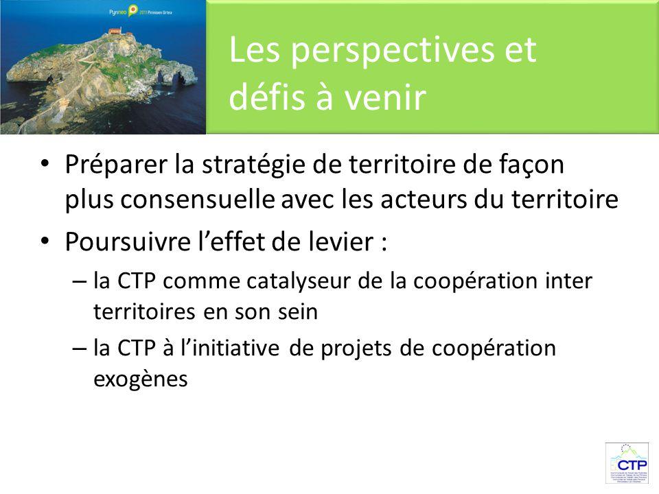Préparer la stratégie de territoire de façon plus consensuelle avec les acteurs du territoire Poursuivre l'effet de levier : – la CTP comme catalyseur de la coopération inter territoires en son sein – la CTP à l'initiative de projets de coopération exogènes Les perspectives et défis à venir