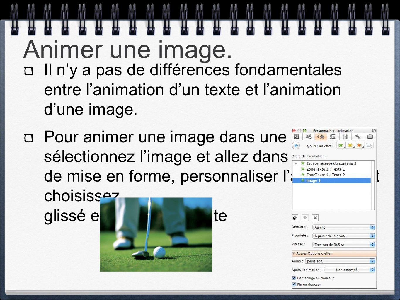 Animer une image. Il n'y a pas de différences fondamentales entre l'animation d'un texte et l'animation d'une image. Pour animer une image dans une di
