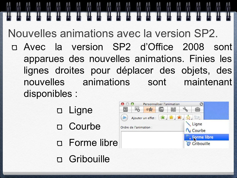 Nouvelles animations avec la version SP2. Avec la version SP2 d'Office 2008 sont apparues des nouvelles animations. Finies les lignes droites pour dép