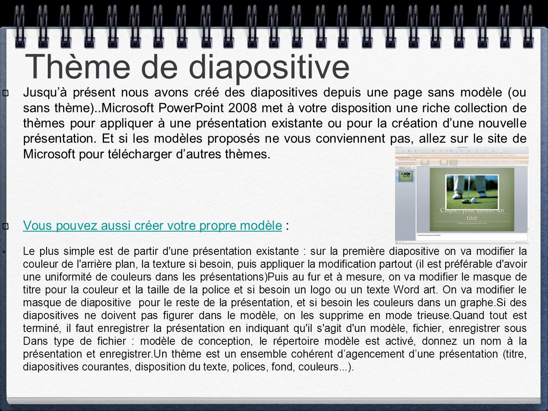 Thème de diapositive Jusqu'à présent nous avons créé des diapositives depuis une page sans modèle (ou sans thème)..Microsoft PowerPoint 2008 met à vot