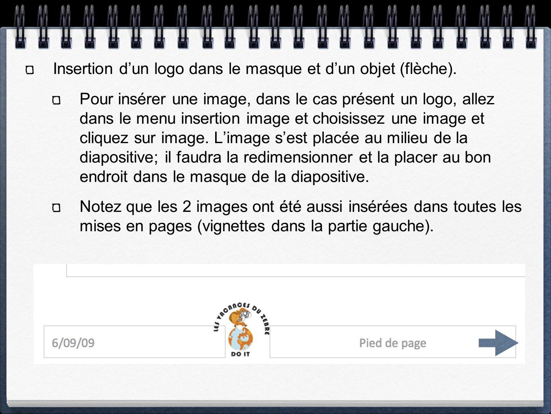 Insertion d'un logo dans le masque et d'un objet (flèche). Pour insérer une image, dans le cas présent un logo, allez dans le menu insertion image et