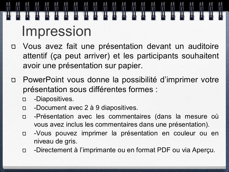 Impression Vous avez fait une présentation devant un auditoire attentif (ça peut arriver) et les participants souhaitent avoir une présentation sur pa
